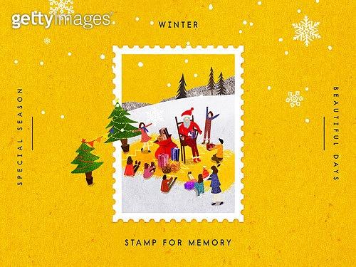 추억, 프레임, 우표, 겨울, 계절