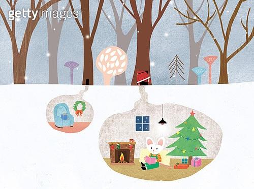 쥐 (쥐류), 캐릭터, 동화, 새해 (홀리데이), 2020년 (년), 쥐띠해 (십이지신), 겨울, 눈 (얼어있는물)