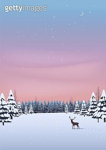 겨울, 카피스페이스 (콤퍼지션), 풍경 (컨셉), 백그라운드, 자연 (주제), 자연풍경, 눈 (얼어있는물), 만년설원 (눈), 일몰 (땅거미), 사슴 (발굽포유류), 숲