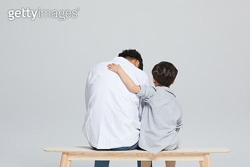 아빠, 소년, 아들, 가족, 뒷모습, 위로, 우울