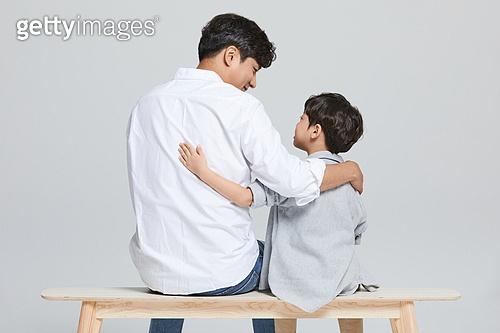 아빠, 소년, 아들, 가족, 뒷모습, 위로, 미소