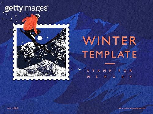 파워포인트, 메인페이지, 추억, 프레임, 우표, 겨울, 계절, 눈, 좋은소식
