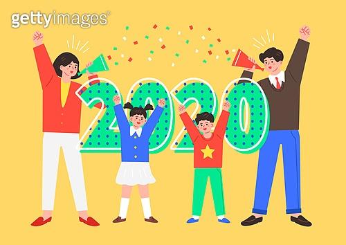 2020년, 새해 (홀리데이), 파이팅 (흔들기), 환호 (말하기), 새로움 (상태), 시작, 사람, 가족, 꽃가루