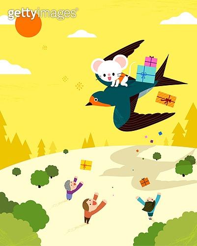 제비, 좋은소식 (컨셉), 새해 (홀리데이), 2020년 (년), 쥐띠해 (십이지신), 캐릭터, 선물 (인조물건)