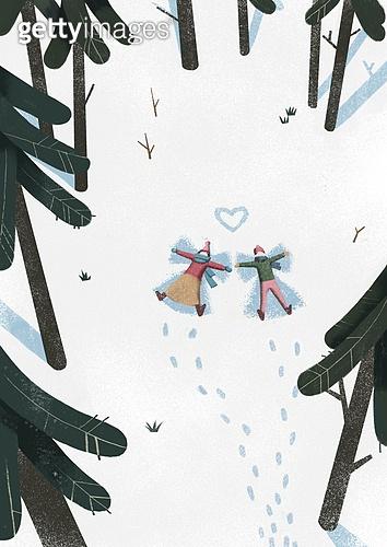 겨울, 풍경 (컨셉), 환상 (컨셉), 숲, 눈 (얼어있는물), 만년설원 (눈), 커플, 나무
