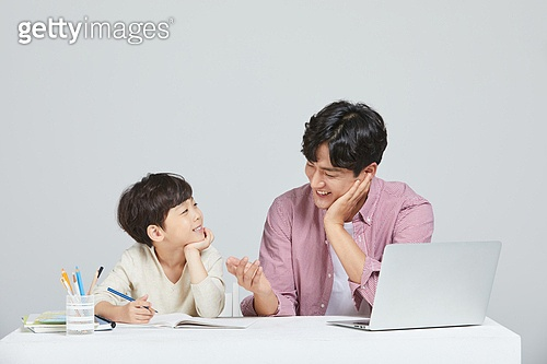아빠, 아들, 초등학생, 교육 (주제), 가르침 (움직이는활동), 공부