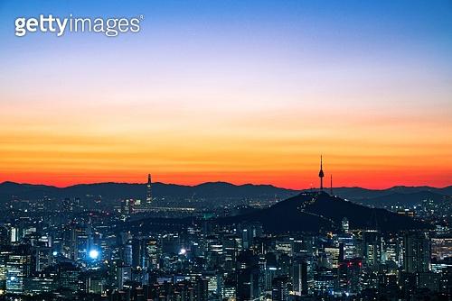 한국 (동아시아), 대한민국 (한국), 서울 (대한민국), 일출, 도시풍경, 도시, 아침, 남산서울타워 (서울), 야경, 새벽