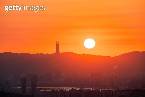 한국 (동아시아), 대한민국 (한국), 서울 (대한민국), 일출, 도시풍경, 도시, 아침, 태양