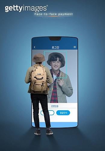 그래픽이미지, 사회이슈 (주제), 스마트폰, 페이스결제, 모바일결제, 안면인식기술 (생체인식), 생체인식, 모바일뱅킹, 구매, 5G, 남성, 온라인쇼핑