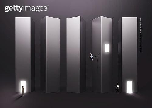 그래픽이미지, 편집디자인, 비즈니스, 비즈니스맨, 결정 (컨셉), 상상력 (컨셉), 계단, 꿈같은 (컨셉), 어둠과빛, 화이트칼라 (전문직), 환상, 아이디어 (컨셉)