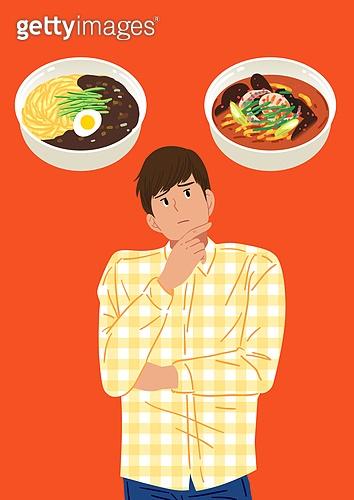 선택, 결정 (컨셉), 선택장애 (컨셉), 걱정 (어두운표정), 사람, 중국음식 (아시아음식), 자장면 (면), 짬뽕