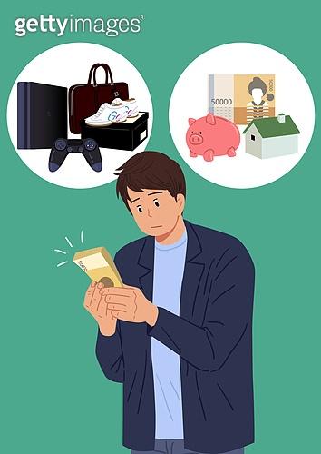 선택, 결정 (컨셉), 선택장애 (컨셉), 걱정 (어두운표정), 사람, 쇼핑 (상업활동), 저축, 돈다발, 온라인쇼핑