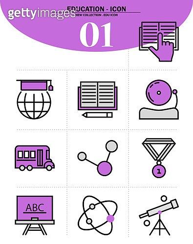 아이콘, 아이콘세트 (아이콘), 교육 (주제), 학교건물 (교육시설), 학원, 공부 (움직이는활동), 책, 연필, 창의력