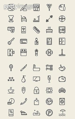 벡터 (일러스트), 아이콘, 아이콘세트 (아이콘), 라인아이콘, 호텔, 숙박, 모텔, 여행, 레스토랑, 인테리어, 여행