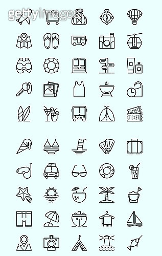 벡터 (일러스트), 아이콘, 아이콘세트 (아이콘), 라인아이콘, 여름, 휴가, 여행, 바캉스, 더위, 바다, 해변, 수영, 수영복, 호텔, 항공, 예약