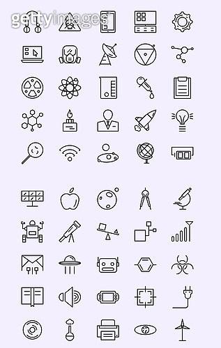 벡터 (일러스트), 아이콘, 아이콘세트 (아이콘), 라인아이콘, 테크놀로지, 인공지능, 과학, 기술, 공업, 도구, 하드웨어, 원자력