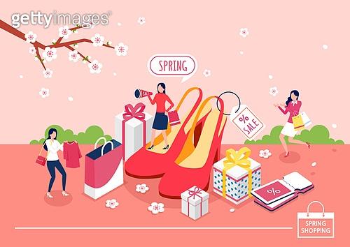 쇼핑 (상업활동), 미니어쳐, 봄, 벚꽃, 하이힐, 여성 (성별), 선물 (인조물건), 쇼핑백