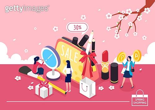 쇼핑 (상업활동), 미니어쳐, 봄, 벚꽃, 여성 (성별), 파우치, 화장품 (몸단장제품), 쇼핑백, 립스틱, 선물 (인조물건)
