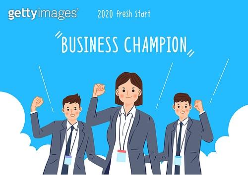 사람, 비즈니스, 화이트칼라 (전문직), 희망 (컨셉), 성공, 시작, 팀워크, 파이팅 (흔들기)