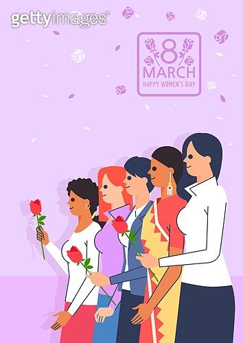 세계여성의날, 여성, 청년 (성인), 기념일, 장미, 연대, 글로벌, 여러민족 (인종)