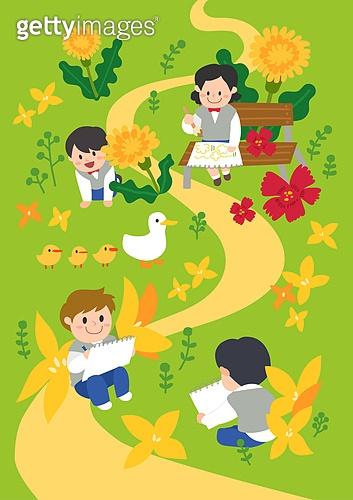 봄, 사람, 풍경 (컨셉), 나무, 꽃, 소풍 (아웃도어), 교복, 꽃밭, 개나리