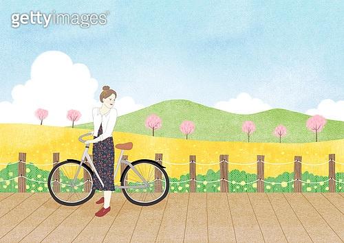 봄, 풍경 (컨셉), 꽃, 풀 (식물), 맑은하늘 (하늘), 벚꽃, 벚나무 (과수), 산, 자전거, 여성 (성별)