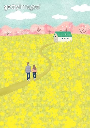 봄, 풍경 (컨셉), 꽃, 풀 (식물), 맑은하늘 (하늘), 벚꽃, 벚나무 (과수), 유채꽃 (식물), 평야 (지세), 커플
