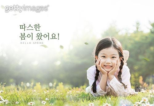 그래픽이미지, 편집디자인, 봄, 계절, 꽃, 꽃잎, 소녀, 턱괴기 (만지기)