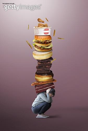 그래픽이미지, 삶의무게, 무거움, 책임 (컨셉), 고통, 스트레스, 다이어트, 폭식증 (섭식장애), 폭식증