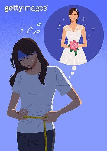 결혼, 우울 (슬픔), 메리지블루, 웨딩드레스 (드레스), 여성 (성별), 신부 (결혼식역할), 다이어트, 줄자, 스트레스