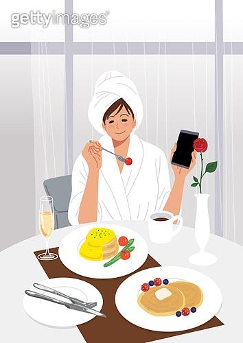 플렉스, 휴가 (주제), 취미, 기쁨, 행복, 휘게 (컨셉), 욜로 (컨셉), 라이프스타일, 사람, 여성 (성별), 호텔, 호캉스, 브런치 (식사), 룸서비스