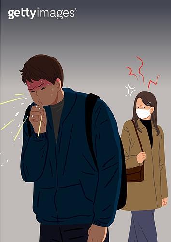 마스크 (방호용품), 바이러스, 두려움, 공포 (어두운표정), 심각, 우울, 사람, 코로나19 (코로나바이러스), 기침, 예절, 캠페인