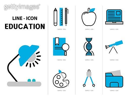 아이콘, 아이콘세트 (아이콘), 라인아이콘, 교육 (주제), 학원, 공부, 교과목, 책, 연필, 노트북