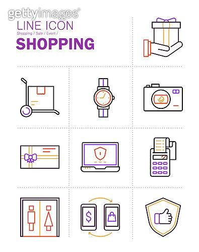 아이콘, 아이콘세트 (아이콘), 라인아이콘, 쇼핑 (상업활동), 상업이벤트 (사건), 세일 (상업이벤트), 모바일쇼핑, 구매, 배달 (일), 온라인쇼핑