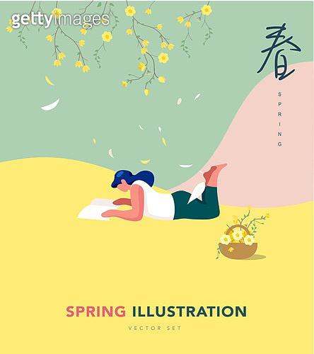 일러스트, 벡터 (일러스트), 여성, 봄, 개나리, 공원, 독서