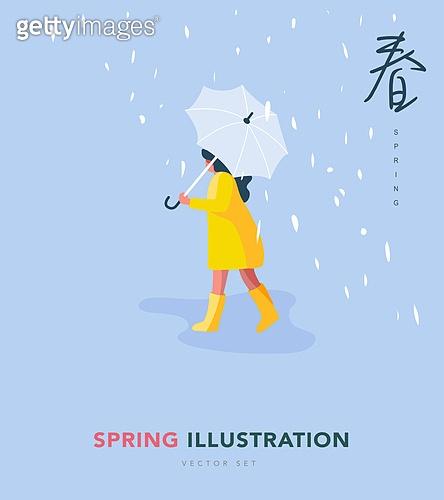 일러스트, 벡터 (일러스트), 여성, 봄, 우비, 봄비, 우산