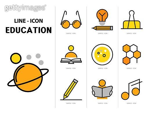 아이콘, 아이콘세트 (아이콘), 라인아이콘, 교육, 학교, 학원, 학습, 공부, 책