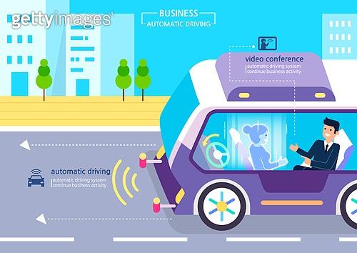 기술 (과학과기술), 4차산업혁명 (산업혁명), 무인자동차 (자동차), 비즈니스, 홀로그램, 화상통화 (컨퍼런스콜), 비즈니스미팅 (미팅)