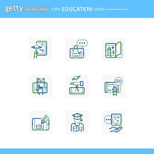 아이콘, 아이콘세트 (아이콘), 선 (인조물건), 교육 (주제), 졸업, 인터넷강의 (교육)