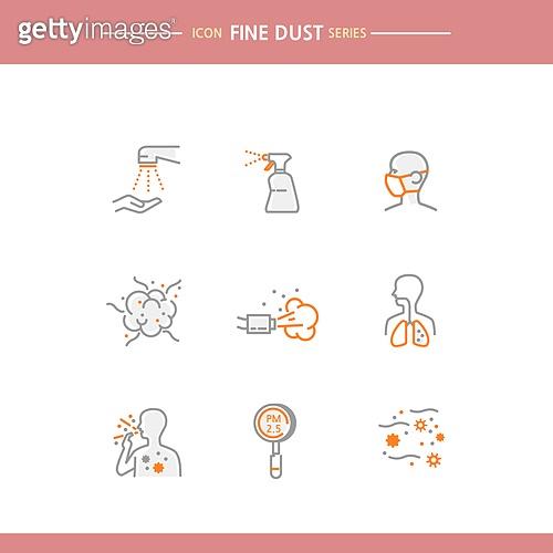 아이콘, 아이콘세트 (아이콘), 선 (인조물건), 대기오염 (공해), 건강관리 (주제), 호흡기관, 기침, 질병, 먼지, 마스크 (방호용품)