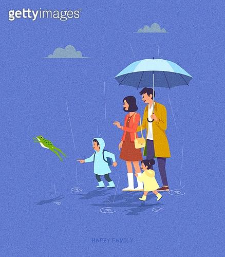 사람, 가족, 라이프스타일, 라이프스타일 (주제), 함께함 (컨셉), 비 (물형태), 우산 (액세서리), 개구리, 어린이 (나이)
