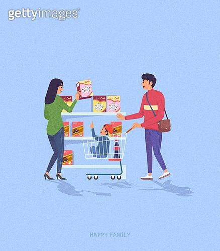 사람, 가족, 라이프스타일, 라이프스타일 (주제), 함께함 (컨셉), 쇼핑카트 (소매업장비), 슈퍼마켓 (가게), 쇼핑 (상업활동)