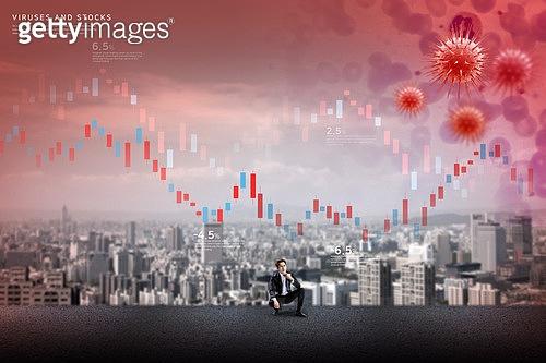 그래픽이미지, 사회이슈 (주제), 글로벌, 경제, 불경기 (컨셉), 코로나19 (코로나바이러스), 비즈니스맨, 마스크 (방호용품)