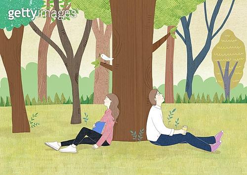 나무, 여가 (주제), 숲, 자연 (주제), 풍경 (컨셉), 식목일, 커플, 기댐 (정지활동)