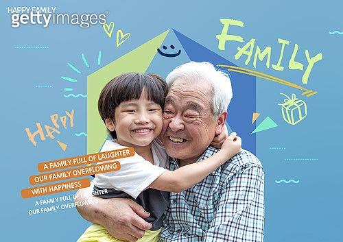 그래픽이미지, 가족, 가정의달, 5월, 할아버지 (조부모), 소년, 포옹