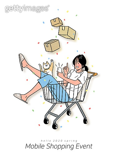 스마트폰, 라이프스타일, 쇼핑 (상업활동), 모바일쇼핑, 연례행사 (사건), 상업이벤트 (사건), 소비, 신용카드결제 (신용카드), 고양이 (고양잇과), 쇼핑카트, 잠옷, 온라인쇼핑