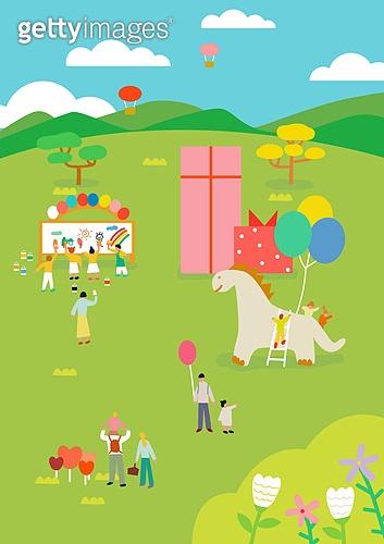 어린이날 (홀리데이), 연례행사 (사건), 봄, 풀 (식물), 맑은하늘 (하늘), 파티, 상업이벤트 (사건), 원거리, 선물 (인조물건), 풍선