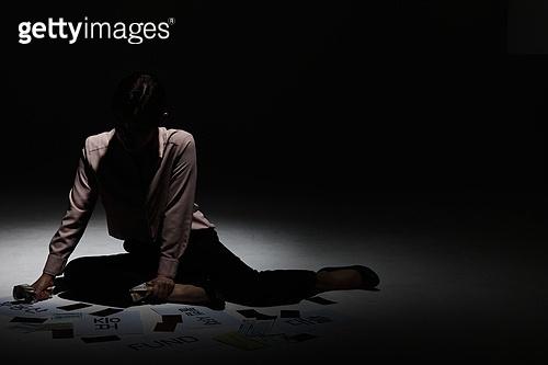 여성, 비즈니스우먼, 절망, 부도, 빚 (금융), 우울 (슬픔)