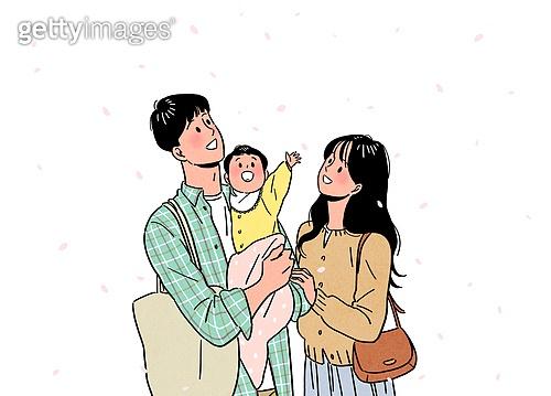 사람, 사람들, 희망 (컨셉), 라이프스타일 (주제), 밝은표정, 봄, 꽃잎, 아기 (나이), 부부, 커플, 소풍 (아웃도어)