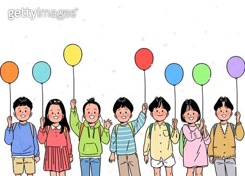사람, 사람들, 희망 (컨셉), 라이프스타일 (주제), 밝은표정, 봄, 꽃잎, 어린이 (나이), 유치원생, 초등학생, 풍선